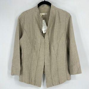 Eileen Fisher Seamed High Neck Jacket 100% Linen